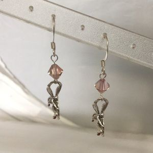 S Silver & Rose Swarovski Crystal Fairy Earrings